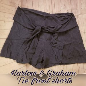 HARLOW +GRAHAM Lined Tie front shorts